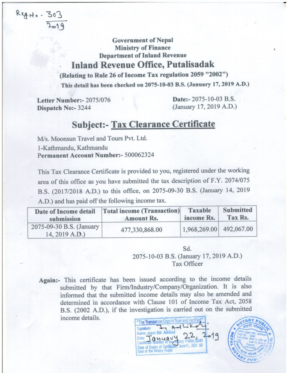 Tax Clearance Certificate 2075-076